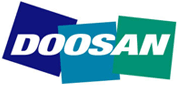 Logo of Doosan, one of the brands offered by FTD under a forklift sale or forklift hire agreement in Suffolk and Sussex