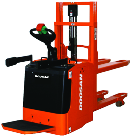 Doosan ride on electric pallet stacker forklift for sale at Fork Truck Direct